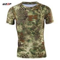 ingrosso camicie tattiche ad essiccazione rapida-WZJP Summer Tactical Camouflage T-shirt da uomo Militrary Tees Camicie Quick Drying Training Maniche corte 4 colori