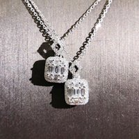 ingrosso monili della principessa-Gioielli di lusso di marca Unico fatto a mano T Princess Cut 5A Zirconia diamante cz piazza ciondolo moda collana clavicola eternità per le donne regalo