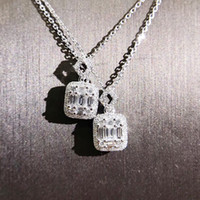prinzessin marke schmuck großhandel-Marke Luxus Schmuck Einzigartige Handgemachte T Prinzessin Cut 5A Zirkonia CZ Diamant Platz Anhänger Mode Eternity Schlüsselbein Halskette Für Frauen Geschenk