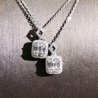 bijoux de marque princesse achat en gros de-Marque De Luxe Bijoux Unique À La Main T Princesse Cut 5A Zirconia CZ Diamant Carré Pendentif Mode Éternité Clavicule Collier Pour Femmes Cadeau
