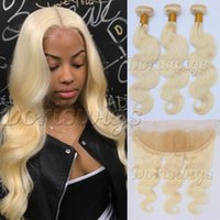 Wholesale Thick Brazilian Hair Bundles - Doriswigs 613 Blonde Bundles With Frontal Closure Ear to Ear Brazilian Body Wave Human Hair Weft Full and Thick