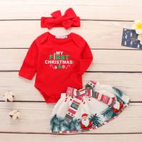 bebek kafa bandı kırmızı toptan satış-Noel Kıyafetleri Bebek Yenidoğan Set Kızlar Santa Bebek Kırmızı Romper + Noel Baskılı Etek + Kafa 3 adet Kıyafetler Çocuk Giysileri Bebek Giyim