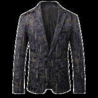 ingrosso vestito classico degli uomini-Classico uomo manica lunga stampato giacche da uomo di grandi dimensioni 5XL Fashion Business Banchetto da sposa Groom Dress Jacket Men