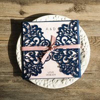 Wholesale Classic Invitations - 2018 European Classic Navy Blue Blush Pink Laser Cut Wedding Invites With Blank Inner Shee Free shipping t