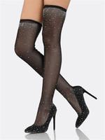 vestidos largos del vendaje de cristal al por mayor-Mujeres Bling Bling Punta estrecha Diseño Legging negro Sobre la rodilla Botas de tacón fino Malla de encaje Vendaje de cristal Botas de tacón alto Botas de vestir