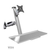 ingrosso supporto di tastiera in alluminio-Supporto da tavolo ergonomico con supporto da tavolo in alluminio + supporto per tastiera Braccio a molla a gas Staffa di montaggio per monitor LCD da 15-27 pollici Full Motion