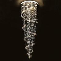 merdiven kolye lambası toptan satış-Modern Parlaklık Kristal Avizeler Aydınlatma Uydurma Çift Merdiven Fuaye Yemek Odası Restoran Dekorasyon Için LED Sarkıt