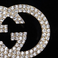 Wholesale Wedding Dress Elegant Hat - Elegant Women Crystal Rhinestone Latters Corsage Brooches Breastpin Wedding Party Jewelry Scarf Hats Dress Clothing Accessory