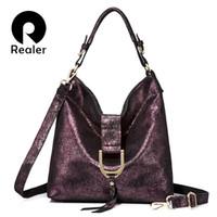 дамские кожаные бахромовые сумки оптовых-Realer  women handbags genuine leather shoulder bags large capacity ladies casual fringed tote bag Zipper messenger bag
