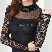 Wholesale Black Top Crochet Collar - Plus size 2018 New fashion Women's Shirts Spring Stand Pearl Collar Lace Crochet Blouse Shirts long sleeve sexy tops Black White