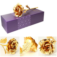 Wholesale naked fake - Gold Foil Plated Artificial Rose For Mother Day Wedding Decorations Party Favor Valentine Gift Naked Fake Flower Multi Color New 2 8ad ZZ