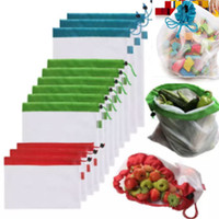 Wholesale Fabric Grocery Bags - Resable Mesh Vegetable Fruit Bag For Washing Shopping Grocery Shopping Rope String Shoulder Bag Hand Totes Home Storage Pouch Bags HH7-1030
