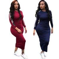 robes à rayures achat en gros de-O Cou Full Sleeve Maxi Dress Pour Femmes Printemps Côté Blanc Rayé Casual Longueur De La Cheville Longueur Vestidos Femmes Zipper Robe Solide