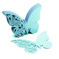 ingrosso decorazioni farfalla blu-50pcs / Lot farfalla posto Escort vino bicchiere di vetro carta di carta per la festa nuziale decorazioni per la casa bianco blu rosa viola carte di nome