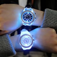 Wholesale Jelly Watch Unisex - Luminous diamond 7 color led usa fashion trend of male and female students couple jelly Geneva watch Transparent Case Silica gel watches