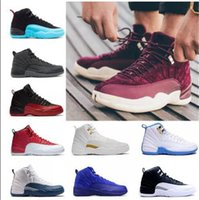Wholesale Gamma Band - NEW 2018 Cheap 12 XII Mans Basketball Shoes Sneakers Women Taxi Playoffs Gamma Blue Grey Sports Running Shoes For men US 5.5-13