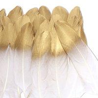 schwarze gold weiße hochzeit dekorationen großhandel-36 Stück Gold eingetaucht natürliche weiße Federn für verschiedene Handwerk, DIY Dekor Federn, Hochzeit Feder Dekoration
