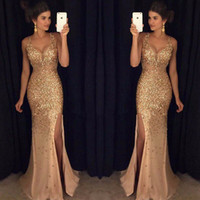 Wholesale rhinestone prom dress for sale - 2018 New Golden Long Mermaid Prom Dresses with Rhinestones Evening Party Gown Real Dress Vestido de Formatura Longo