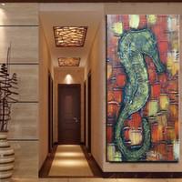 desenhos animados do hipocampo venda por atacado-Poster Da Parede Um hipocampo Cavalo Art Bonito Dos Desenhos Animados pintados à Mão lona Única decoração 2018 Nova promoção de vendas quente