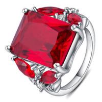 anillos de piedra roja para mujer. al por mayor-EDELL Vintage Granate Ruby Red Stone S925 Anillo de Plata de Tamaño Abierto 100% Pure 925 Anillos de Plata Esterlina para Las Mujeres Joyería