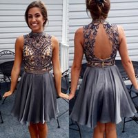 Wholesale open back white cocktail dresses - Crystals Beaded Short Homecoming Dresses A Line High Neck Illusion Sexy Open Back Knee Length Junior Graduation Gowns Prom Cocktail Dress
