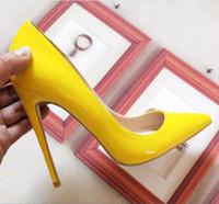 ingrosso scarpe gialle bride-Scarpe da donna Moda Tacchi alti Scarpe Scarpe gialle Scarpe da sposa da sposa da donna Ladies
