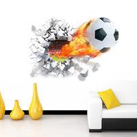 decalques esportivos futebol venda por atacado-Bola de futebol de futebol adesivo de parede decalque kids room decor esporte menino quarto