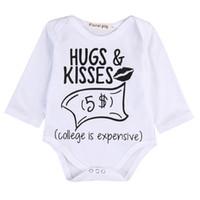 ingrosso abbracci del bambino-Neonati maschietti Ragazze Divertenti Lettera Abbraccio Kiss tute tutina Neonato Neonati Bambini Carino Body monopezzo Abiti Abbigliamento per bambini