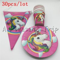 Wholesale Napkin Paper Party - Wholesale-30 pcs\lot Cartoon Unicorn Kids Favors Tablecloth Happy Birthday Party Napkins Decoration Paper Plates Cups Baby Shower Supplies