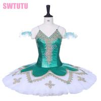 Wholesale leather ruffle skirt online - Women Green Nutcracker Platter Professional Ballet Tutus Child Performance Tutu skirts for girls BT9201