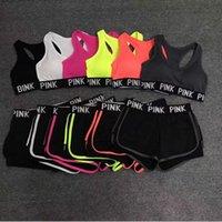 Wholesale cotton pants bra - PINK Tracksuit Women Bras Set Summer Sport Wear Yoga Suit Fitness Shorts Gym Crop Top Vest Pants Running Underwear Sets Runner Outfits B3860