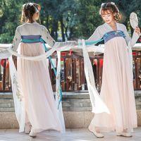 vestidos de baile de hadas al por mayor-Hada tradicional oriental vestido de princesa de la danza del traje de baile folclórico chino Hanfu mujeres vestidos de la etapa de la dinastía Tang Cos ropa
