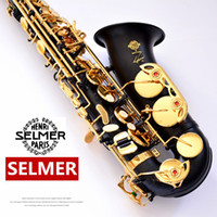 Wholesale alto sax mouthpieces - France Selmer 54 Black Nickel Gold Saxophone Alto Eb Sax High Quality Saxophone Music Instruments With Mouthpiece