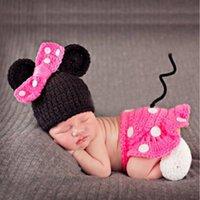 ingrosso le ragazze cartoon cartoon foto-Neonato Crochet Costume Baby Boys Girls Fotografia Puntelli Infantile per maglieria Foto Puntelli Kid Cartoon Cute Outfit con cappello di scarpe