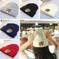 Wholesale Tiger Beanie Hat - Fashion Knitted embroidery Hats Beanie Men Girls Designer Tiger bee embroidery Cap Women's Warm Winter Hats Unisex Men Casual Hat Skull Caps