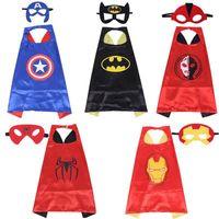 Wholesale spiderman masks for kids wholesale - Double side Halloween L70*70cm kids Superhero Capes and masks - Spiderman Flash Supergirl Batgirl Robin for kids capes Cosplay 50pcs