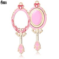 ingrosso luna specchio-Sailor Moon Mirror Pearl Butterfly Festival Trucco Outfit Handhold Makeup Oval Round Cosmetic Held Mirror Beauty Dresser