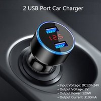 4.8a ladegerät großhandel-Auto-Ladegerät Schnellladung Metall Dual USB 4.8A Autoadapter LED-Display Auto Spannungsprüfer Flush Fit für iPhone X / 8/7/6 s / Plus Galaxy S9 / S8 / S7