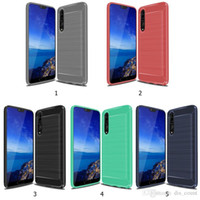 Wholesale p roses - 1.5mm Armor TPU case For Huawei Y7 2018 Y9 2018 P Smart P20 Lite Carbon Fiber Soft TPU Heavy ShockProof Cover Full Protector Fitted Conque
