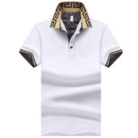 Wholesale white collar shirts for men for sale – dress Mens New Turn Down Collar Polos Fashion Designer Shirts Summer Casual Tops For Men