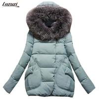 Wholesale Jacket Hood For Women - Wholesale- 1PC Winter Jacket Women Fur Hood Cotton Padded Coat Parkas For Women Winter Casaco Abrigos Mujer Jaqueta Feminina Z002