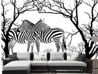 zebra wand kunst großhandel-Moderne Kunst schwarz-weiß geprägte abstrakte Baum Zebra Wohnzimmer Sofa Hintergrund Wand