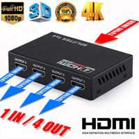 handy-tuner großhandel-Full HD HDMI Splitter Verstärker Repeater 1080p 4 Karat 3D Weibliche Schalter Box 1x4 Port US / EU Stecker