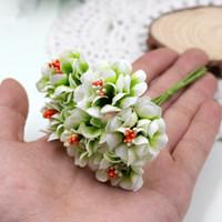 suni kalemler toptan satış-Ipek Degrade Ercik Yapay Çiçekler El Yapımı Buket Düğün Ev Dekorasyon için Diy Scrapbooking Çelenk Sahte Çiçekler 6 adet / grup