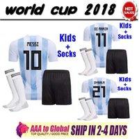 argentinien zuhause großhandel-Argentinien Argentina 2018 Weltcup DYBALA HIGUAIN Fußball Jersey Kids Kit 2018 Hause weiß Fußball Trikots MESSI Kinder Fußball Shirts Uniform Jersey + Shorts