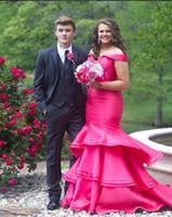 ingrosso gonne lunghe rosa-Hot Pink Plus Size Prom Dresses 2018 Moda Off the shoulder Satin Mermaid Increspato Strati Gonna Lunga Sera Abiti Formali Economici