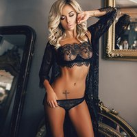 encaje de pestañas al por mayor-1 Set Venta 2018 Más Nuevo 2 unids / set Señoras Perspectiva Sexy Lencería Pestañas de Encaje de Tres puntos Traje Sexy Envío Gratis