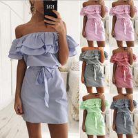 habille-toi achat en gros de-Femmes Off épaule Mini Dress Dames D'été Fête À Volants Moulante Fronces Tops Rayures À Volants Robe LJJO4522