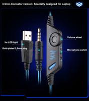kulaklık girişi led toptan satış-Yeni Ucuz Kotion Her G9000 Gaming Headset Kulaklık 3.5mm Stereo Jack için Mic ile LED Işık PS4 / Tablet / Dizüstü / Cep Telefonu DHL