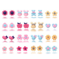 Wholesale earring variety - Oaonnea 16 Pairs Variety Assorted Flower Children Stud Earrings Set Hypoallergenic Cute Earrings For Girls Kids Jewelry Gifts Free DHL H316R